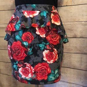 Rose peplum mini skirt